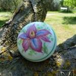 Orchid flower porcelain door knob