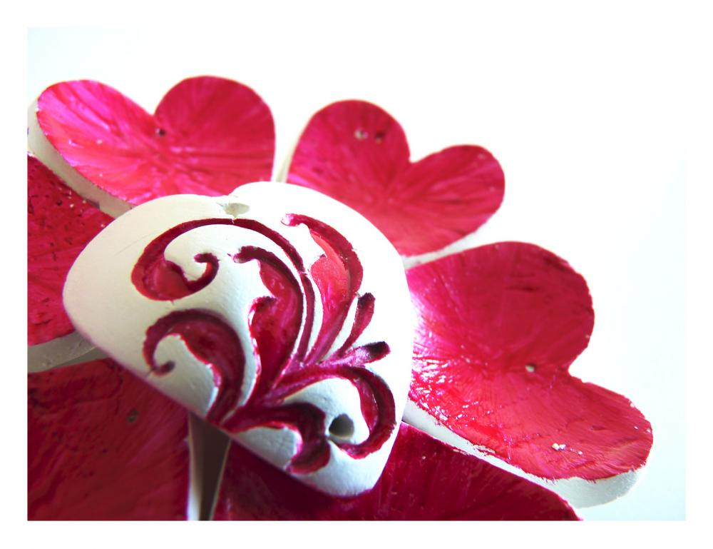 French red Valentines hearts - Set of5 porcelain or clay ornaments.