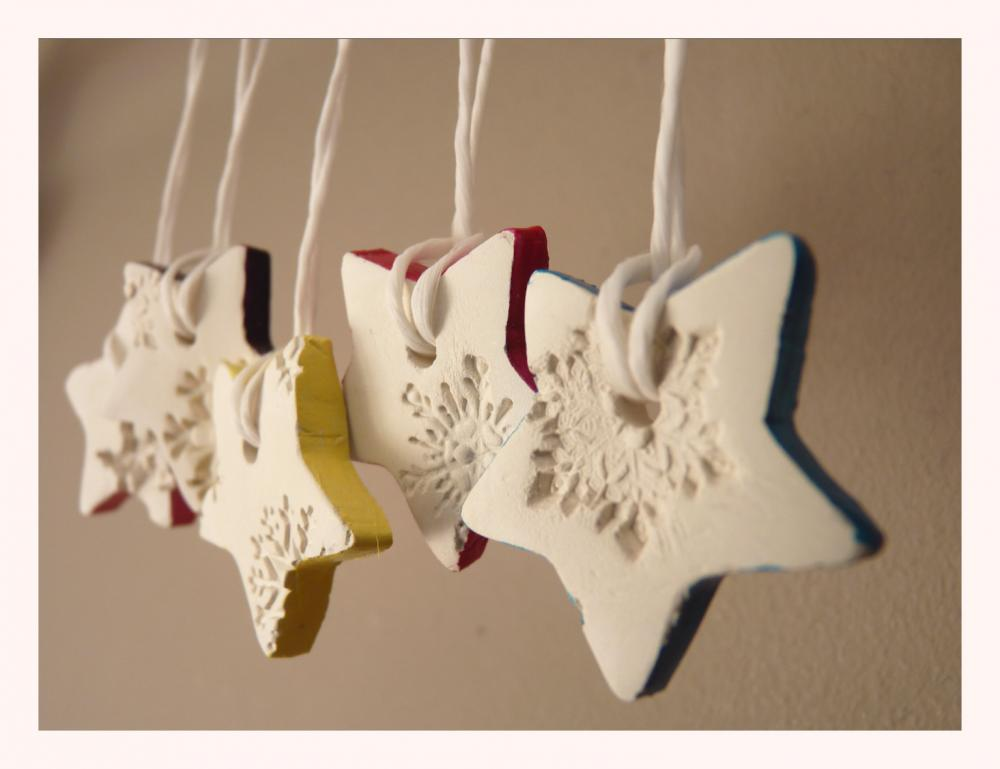 Snowflake porcelain ornaments, white and multi-colored, star shaped