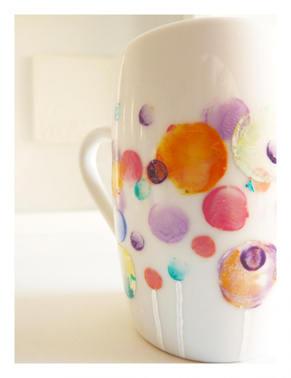 Bubble coffee cup, upcycled handpainted mug.