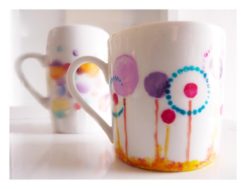 Fantasy dandelion cup, upcycled hand painted espresso mug.