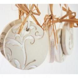 French wedding ornaments-Set of 5, white ceramic, pearl painted.