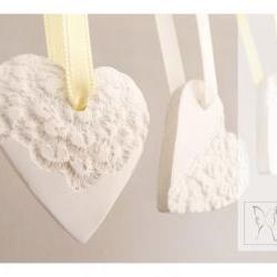 French lace ornaments - heart shaped - porcelain - set of 5
