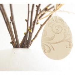 French Easter ornaments-Set of 3, white ceramic, pearl painted.