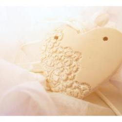 French lace heart XXL- White porcelain silver dusted - set of 3