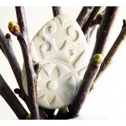 Andalusian/ Spanish Easter ornaments - white ceramic, handpainted.