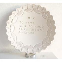 Butterfly wedding dish - White porcelain bowl with your color.